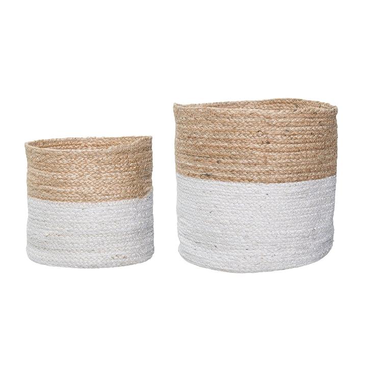 Jute Basket (set of 2) by Bloomingville in White