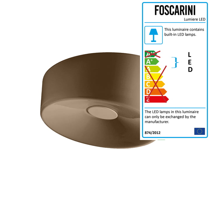 Foscarini - Lumiere XXS Wall and Ceiling Lamp LED, brown