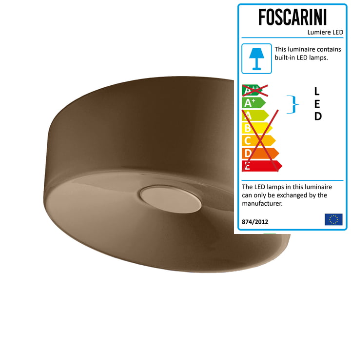 Foscarini - Lumiere XXL Wall and Ceiling Lamp LED, brown