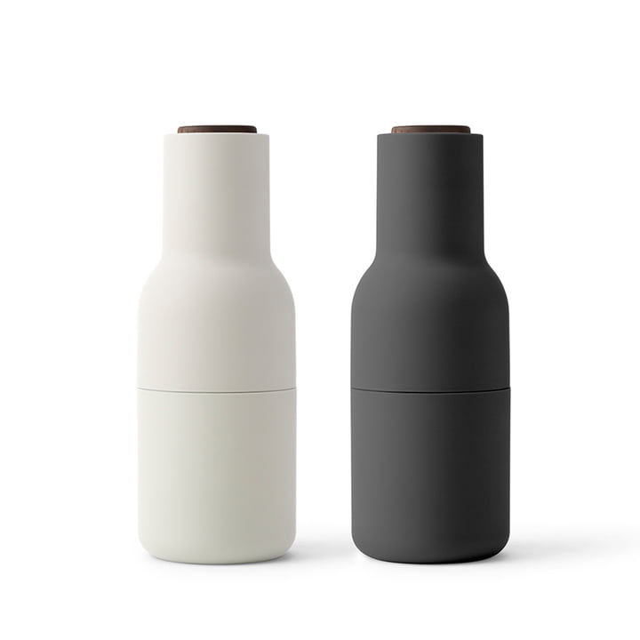 Bottle Salt and pepper mill set from Menu in Ash / Carbon (wooden lid walnut)