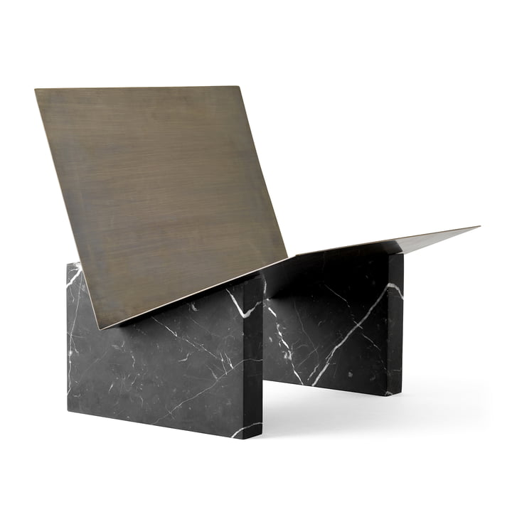 Monuments Magazine holder from Menu in marble black / brass burnished