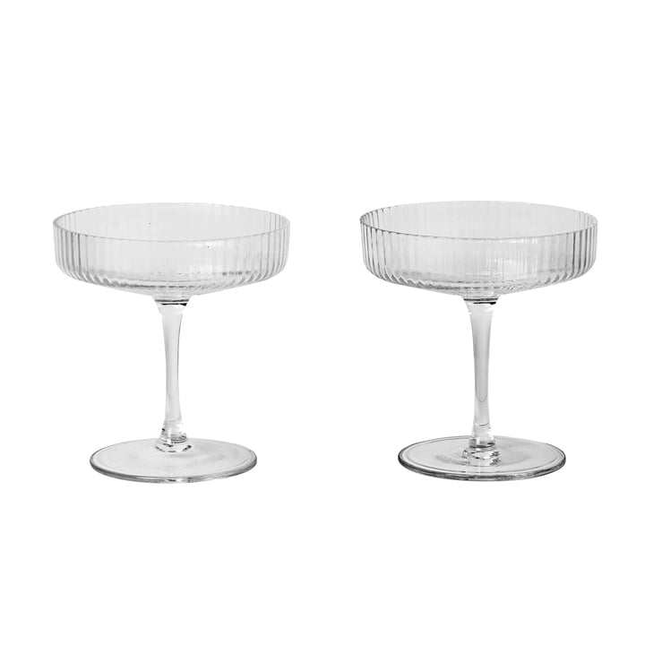 Ripple Champagne glass (set of 2) by ferm Living