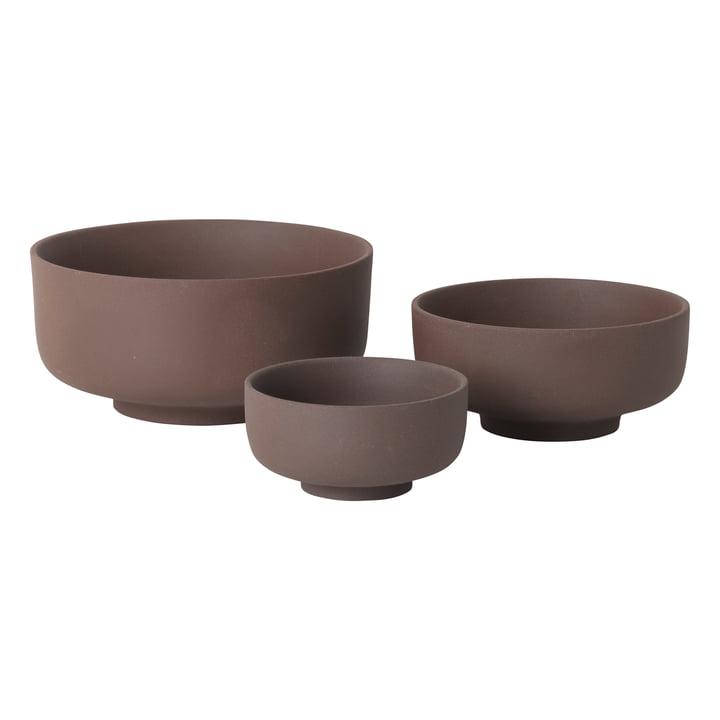 Sekki Bowl Set (3 pcs) by ferm Living in Russet
