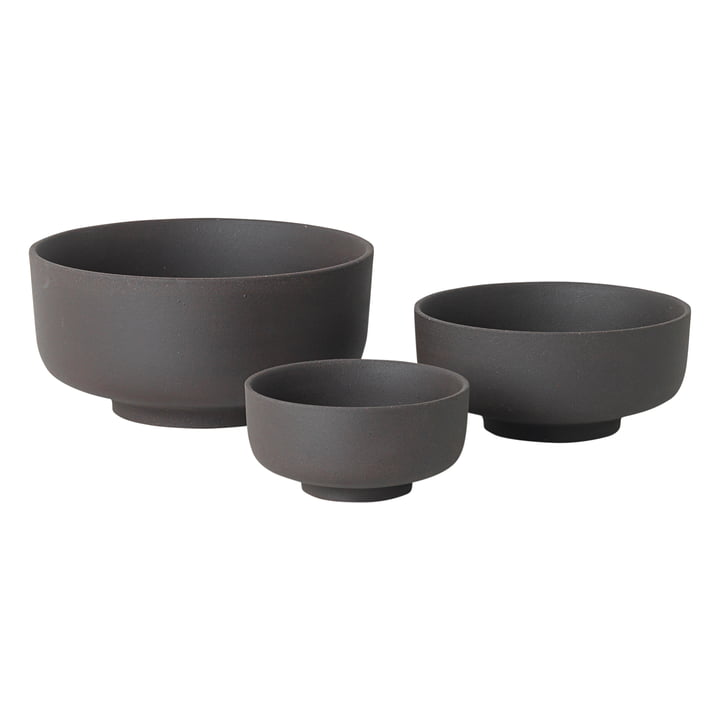Sekki Bowl Set (3 pcs) by ferm Living in Charcoal