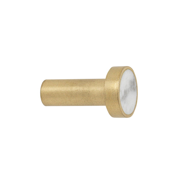 ferm Living - Stone Wall Hooks, Small in Brass / White Marble: