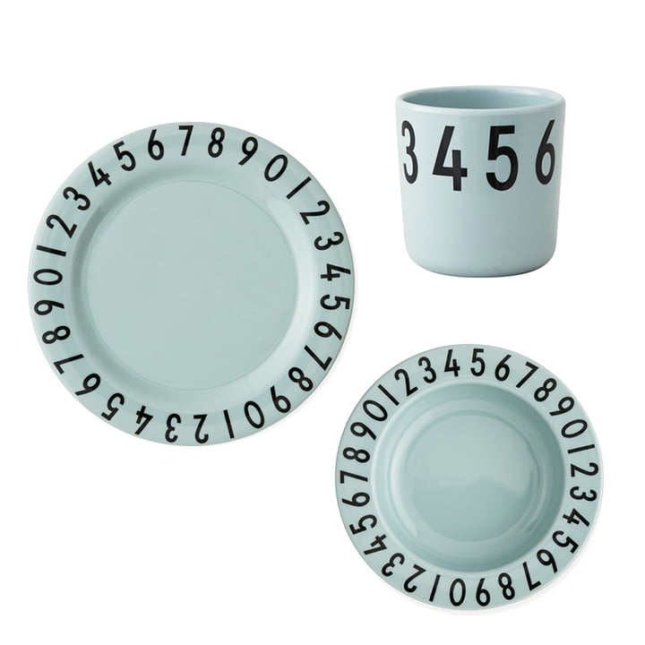 Melamine tableware set The Numbers from Design Letters in green