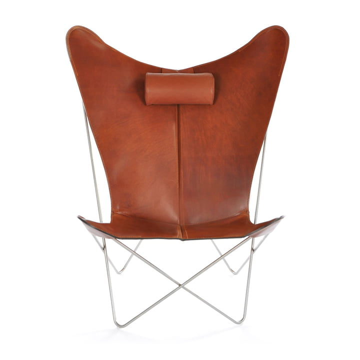 KS armchair by ox Denmarq made from stainless steel / cognac leather