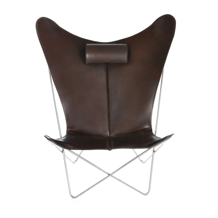 KS Chair by Ox Denmarq made from Stainless Steel / Mocca Leather