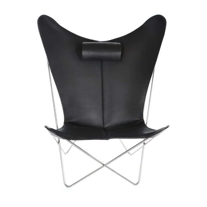 KS Chair by Ox Denmarq made from Stainless Steel / Black Leather