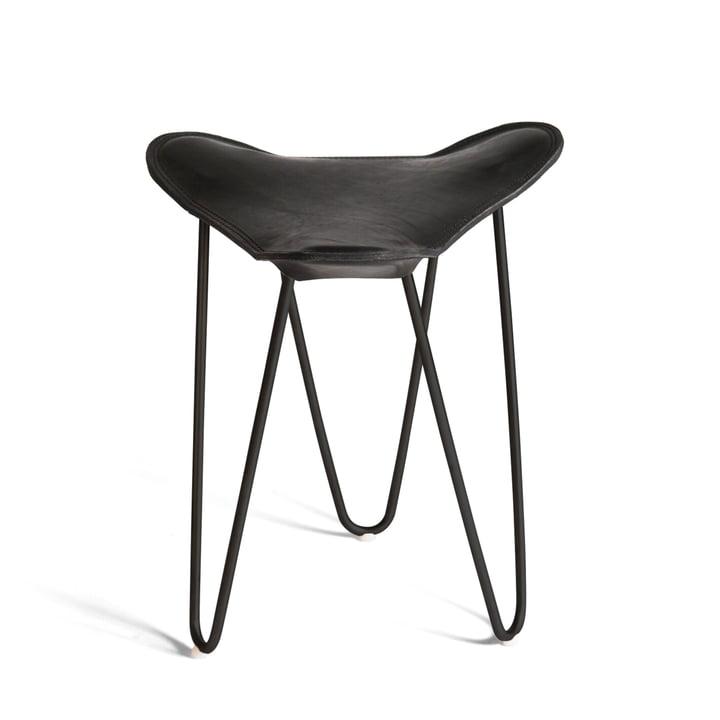 Ox Denmarq - Trifolium Stool, powder-coated steel, black / black leather