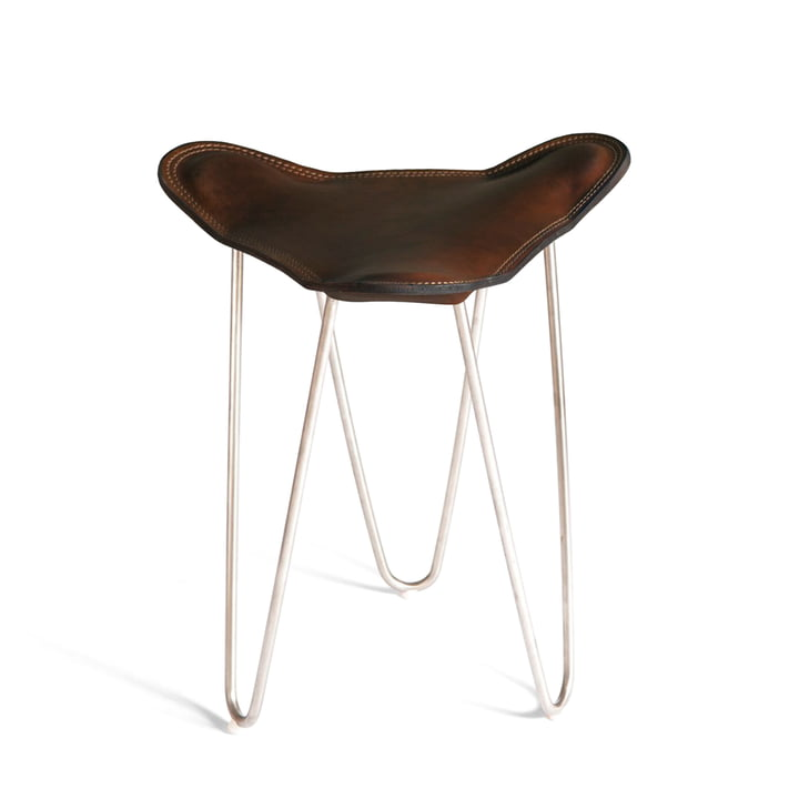 Ox Denmarq - Trifolium stool, stainless steel / mocca leather