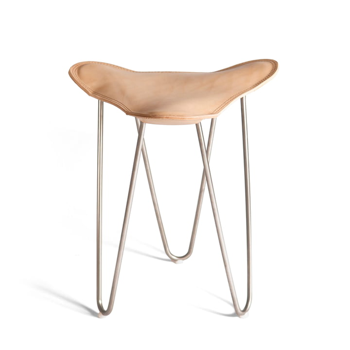 Ox Denmarq - Trifolium stool, stainless steel / natural leather