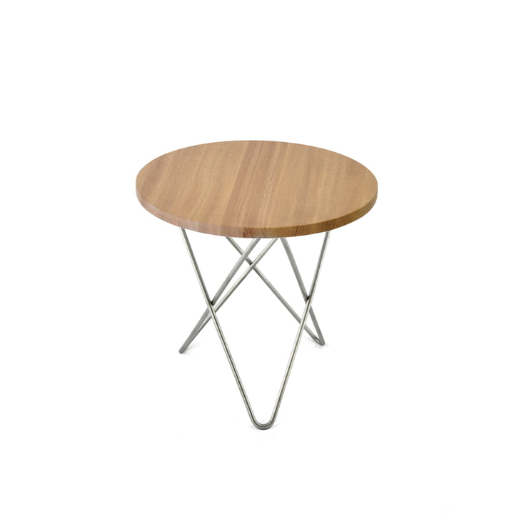 Mini O Side Table Ø 40 cm, Stainless Steel / Oak