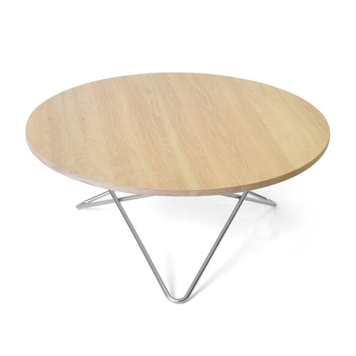 O Coffee Table Ø 80 cm in Stainless Steel / Oak
