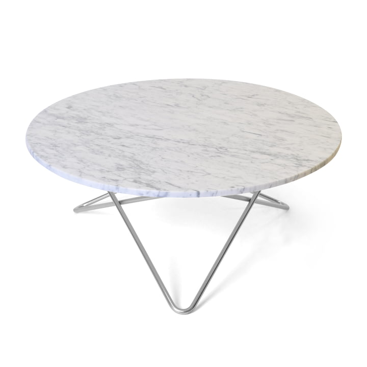O Coffee Table Ø 80 cm in Stainless Steel / White Marble