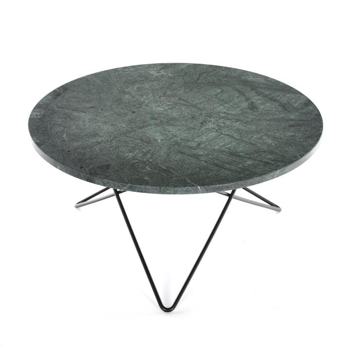 O Coffee Table Ø 80 cm by Ox Denmark in Black Steel / Green Marble