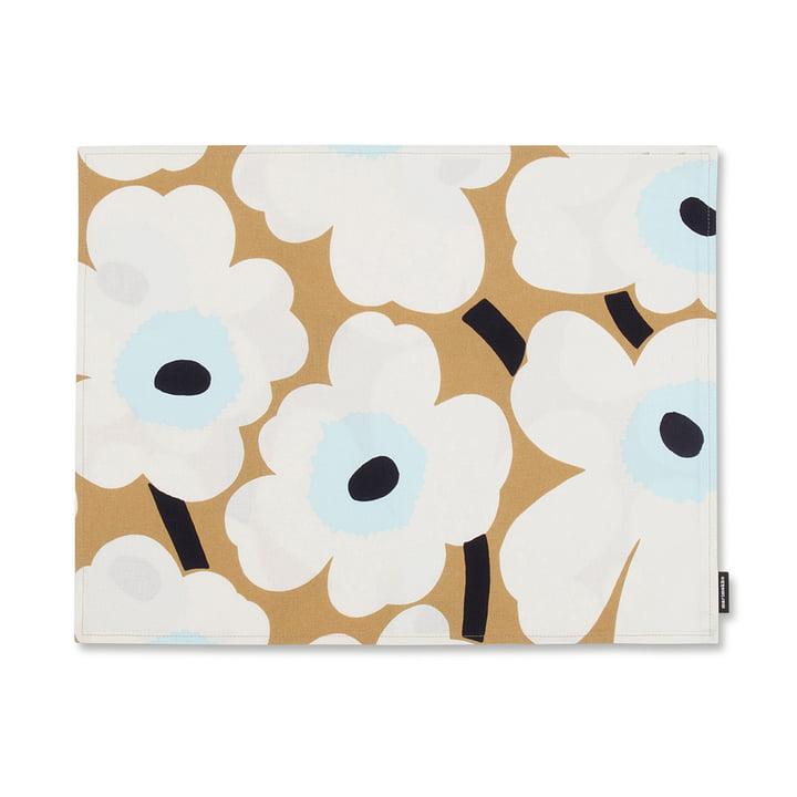 Pieni Unikko placemat by Marimekko in white / beige / blue