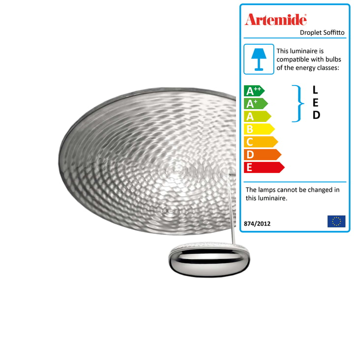 Artemide - Droplet Soffitto LED Ceiling Lamp, chrome / aluminium grey