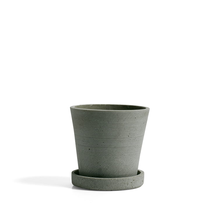 Flower Pot with Saucer S by Hay in Green