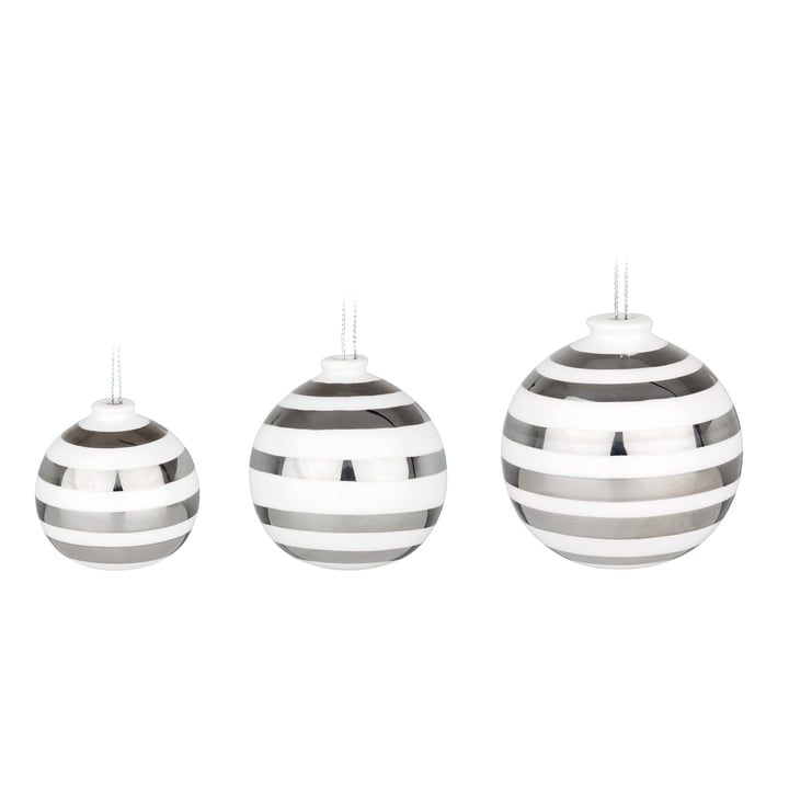 Kähler Design - Omaggio Christmas Tree Baubles, silver (set of 3)