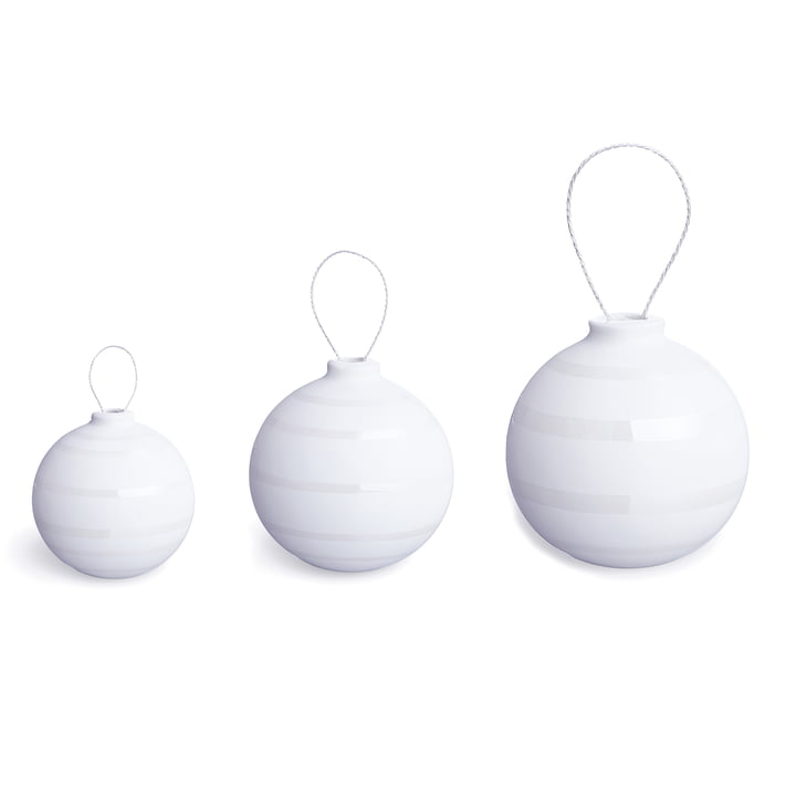 Kähler Design - Omaggio Christmas Tree Baubles, nacre (set of 3)