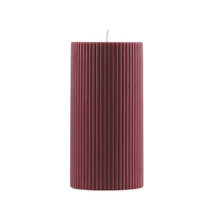 Normann Copenhagen - Grooved Pillar Candles in Dark Red