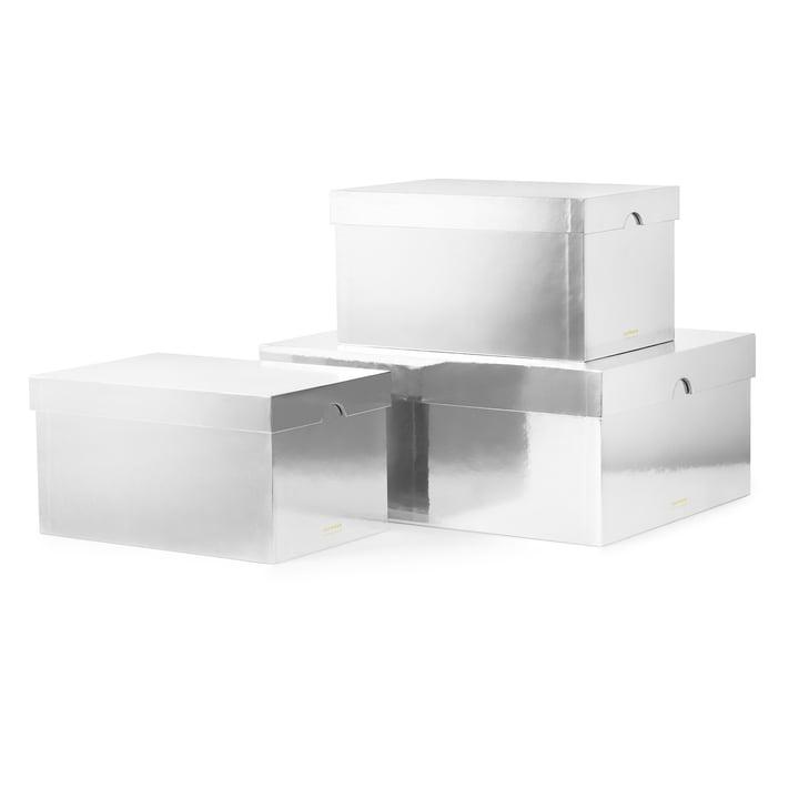 Normann Copenhagen - Metallic Boxes, Silver (Set of 3)