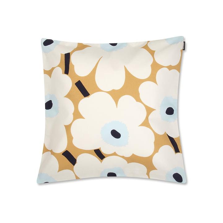 Pieni Unikko Cushion Cover 50 x 50 cm in White / Beige/ Blue