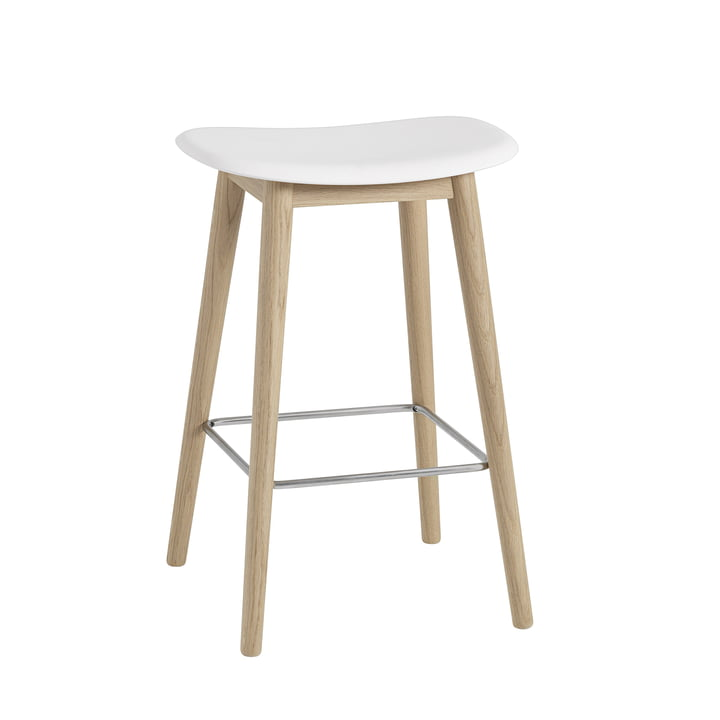 Fibre Bar Stool / Wood Base H65 by Muuto in Natural Oak / White