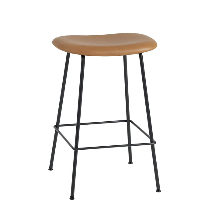 Fiber Bar Stool Tubel Base H65 by Muuto in Black / Leather Cognac