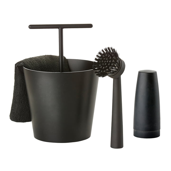 The Zone Denmark - Bucket Dishwashing Set in Black (4 Piece)