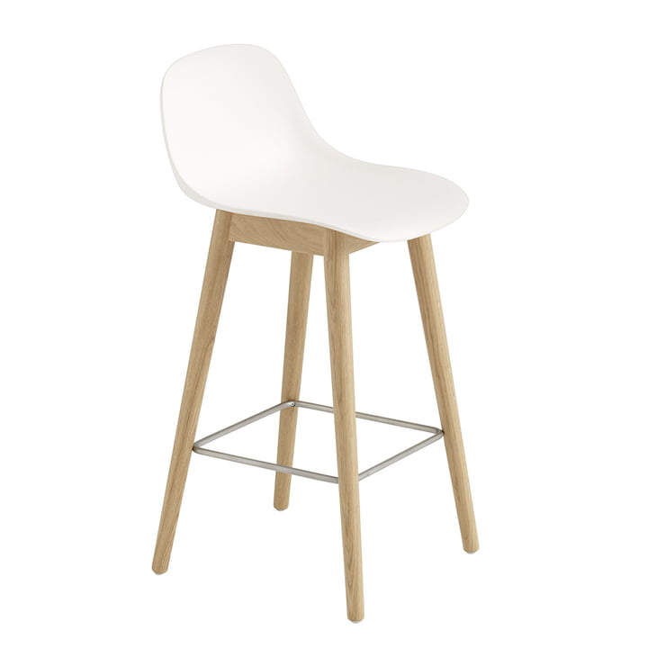 Fiber Bar Stool with Backrest / Wood Base H65 by Muuto in Natural Oak / White