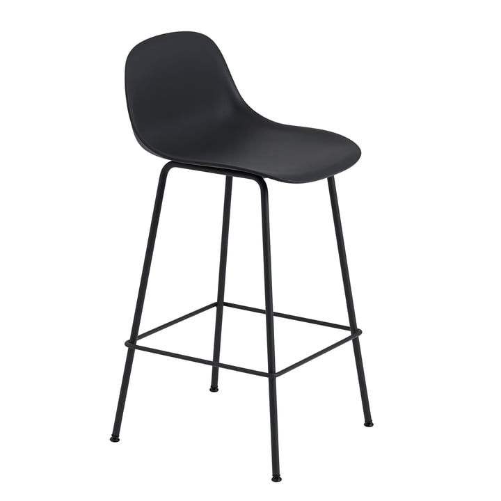 Fiber Bar Stool with Backrest / Metal Base H65 by Muuto in Black