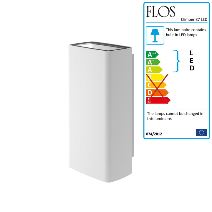 Climber 87 Up/Down LED Wall Lamp by Flos in White
