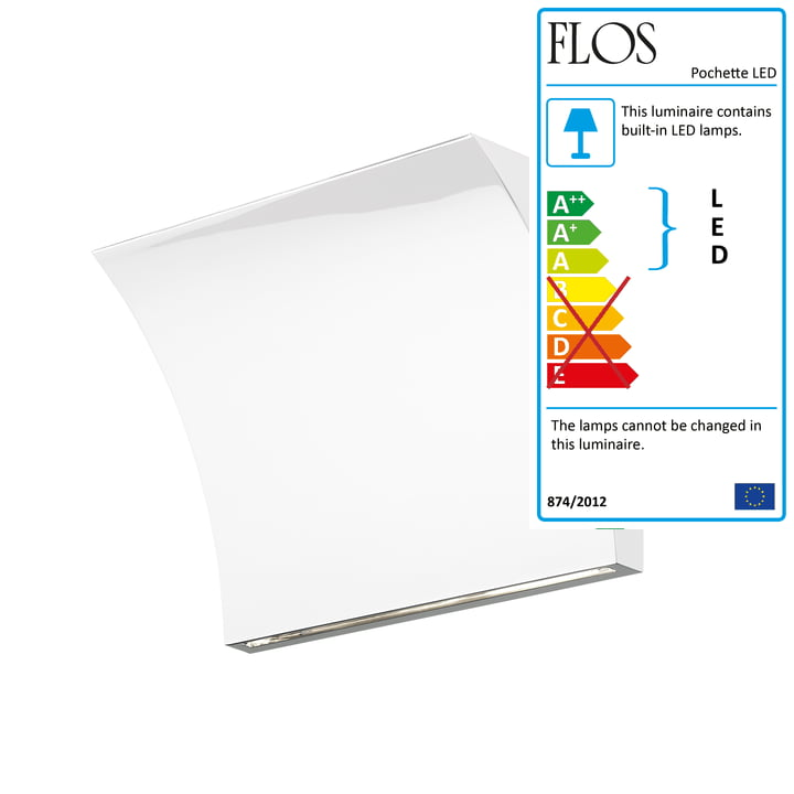 Pochette LED Up/Down Wall Lamp by Flos in White