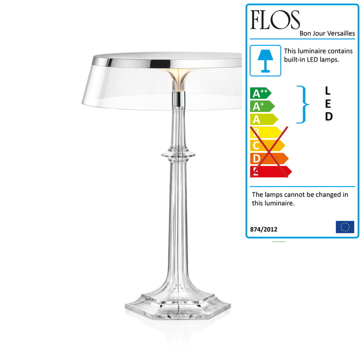 Bon Jour Versailles LED Table Lamp, H 42.3 cm, Chrome / Transparent Crown