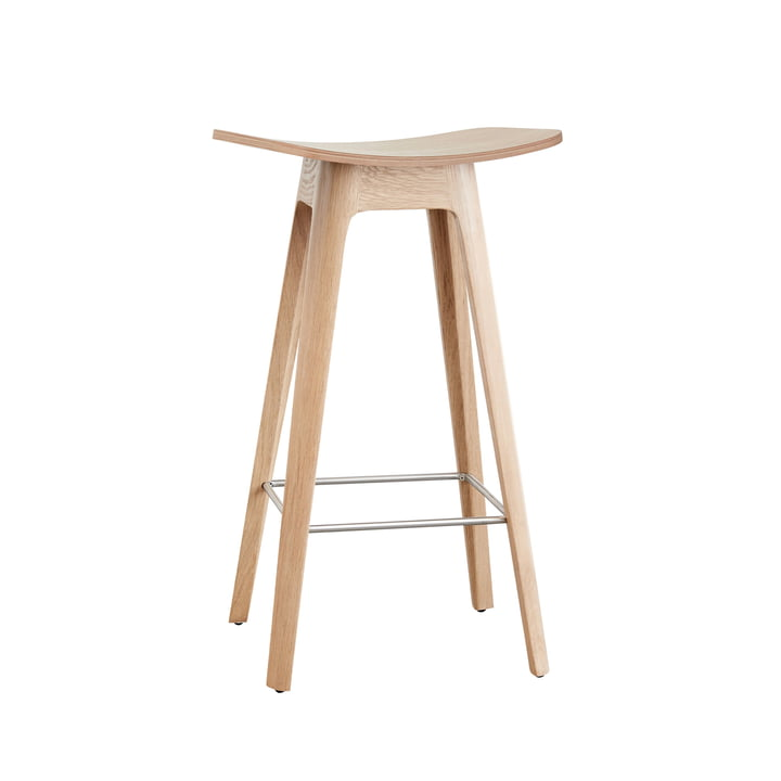 Andersen Furniture - HC1 Bar Stool H 67 cm, Oak Frame / Oak Veneer Seat /stainless steel Footrest