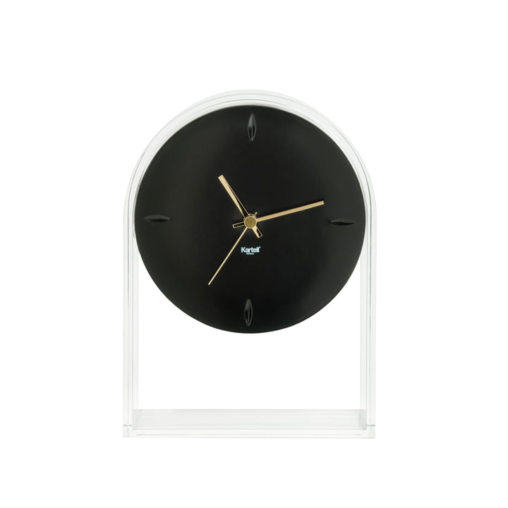 Kartell - Air du Temps Table Clock, Clear Glass / Black