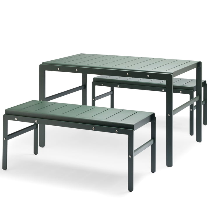Skagerak - Reform Set, hunting green (1 table and 2 benches)