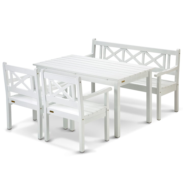 Skagerak - Skagen Set, white (1 table, 1 bench and 2 chairs)