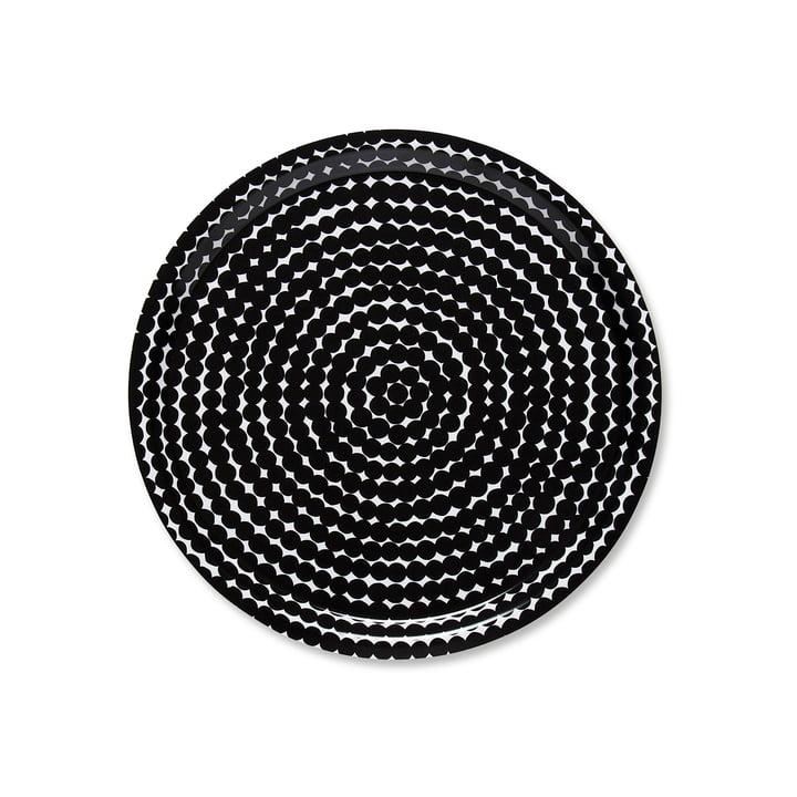 The Marimekko - Räsymatto Tray, Round Ø 31 cm in Black / White