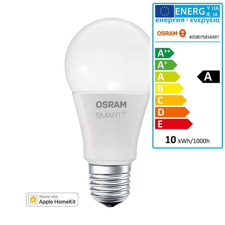 Osram - SMART+ Classic A60 RGBW E27 Multicolor LED Lamp for Apple Home Kit