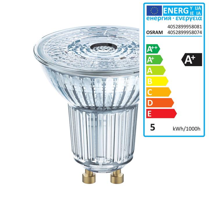 Osram - Star PAR16 50 (36°) LED Reflector Bulb, GU10 / 4,3 W, warm white 2700 K, 350 lm, clear