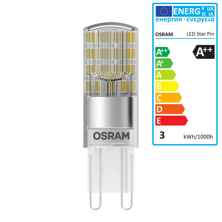Osram - Star Pin 30 LED Lightbulb, G9 / 230 V, 2.6 W, warm white 2700 K, 320 lm, clear