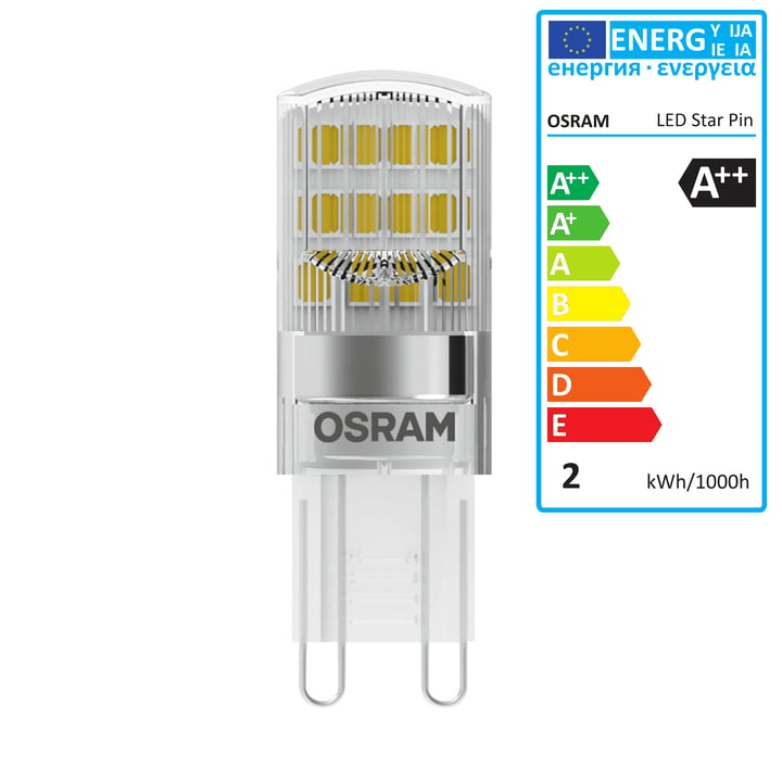 Osram - Star Pin 20 LED Lightbulb, G9 / 230 V, 1.9 W, warm white 2700 K, 200 lm, clear