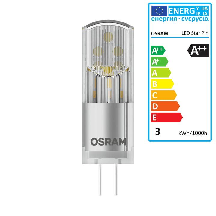 Osram - Star Pin 30 LED Lightbulb, G4 / 12 V, 2.4 W, warm white 2700 K, 320 lm, clear