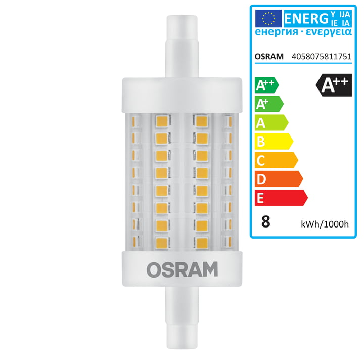 Led superstar line r7s by osram connox for Led r7s 78mm osram