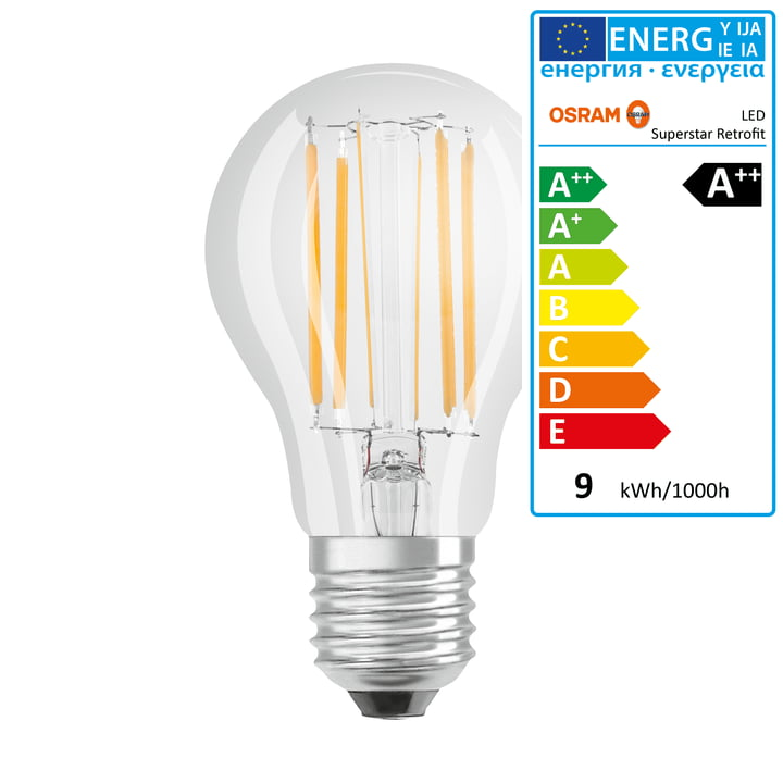 Osram - Retrofit Classic A75 Filament LED lightbulb, E27 / 8,5 W, warm white 2700K, 1055 lm, dimmable / matt