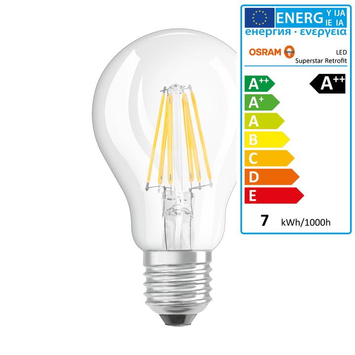 Osram - Retrofit Classic A60 Filament LED lightbulb, E27 / 6,5 W, warm white 2700K, 806 lm, dimmable / matt
