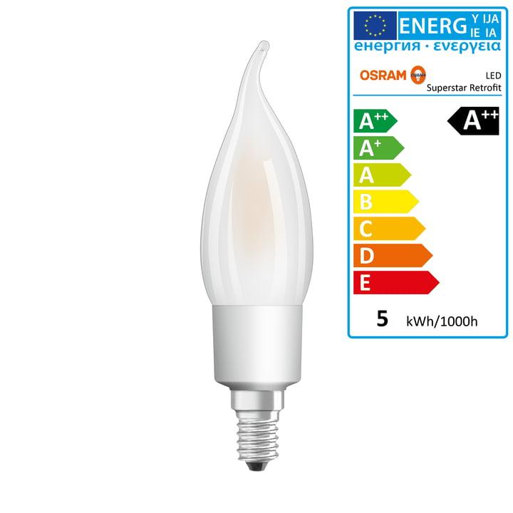 Osram - Superstar Classic BA40 Filament LED lightbulb, E14 / 4,5 W,